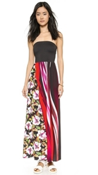 Clover Canyon Botanical Wave Strapless Maxi Dress Multi