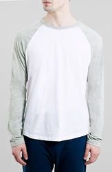Topman Raglan Baseball T Shirt White Multi