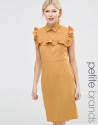 Alter Petite Pencil Dress With Frill Bib Ochre Yellow