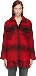 Alexander Wang Red Oversized Plaid Coat