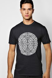 Boohoo Tribal Circle Print T Shirt Black