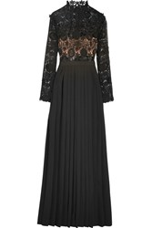 Self Portrait Mia Guipure Lace And Pleated Crepe Gown Black