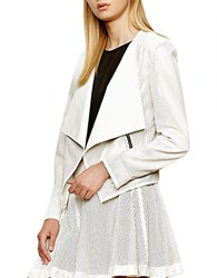 Autograph Addison Perforated Faux Leather Drape Front Jacket White