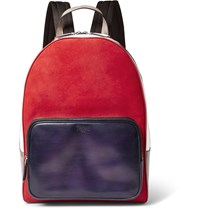 Berluti Time Off Venezia Leather And Suede Backpack Red