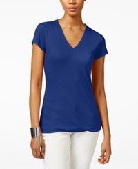 Inc International Concepts Petite Ribbed V Neck T Shirt Only At Macy's Goddess Blue