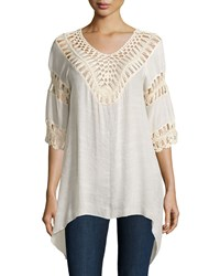 Liquid By Sioni Crochet Trim 3 4 Sleeve Tunic Natural