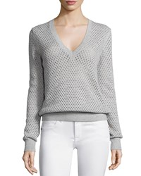 Michael Kors V Neck Pointelle Sweater Heather Gray Women's