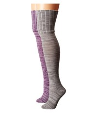 Betsey Johnson 2 Pack Heathered Over The Knee W Ribbed Cuff Marled Grey Marled Xanadu Women's Thigh High Socks Shoes Gray