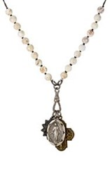 Miracle Icons White Turquoise Bead And Triple Pendant Necklace White