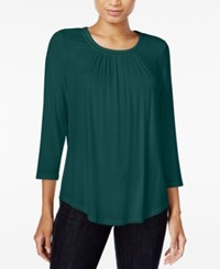 Maison Jules Three Quarter Sleeve Top Only At Macy's Dark Green