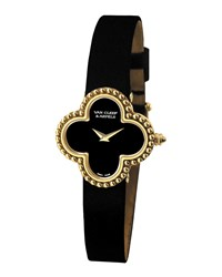 Vintage Alhambra Yellow Gold Watch Small Van Cleef And Arpels Black