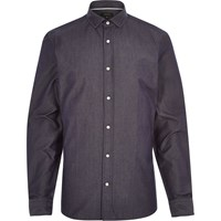 River Island Mens Navy Dark Denim Long Sleeve Shirt
