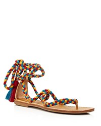 Soludos Braided Gladiator Lace Up Sandals Red Teal Gold