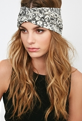Forever 21 Floral Lace Print Headwrap Black Cream