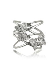 Bernard Delettrez Criss Cross 18K White Gold Ring W Two Diamond Butterflies