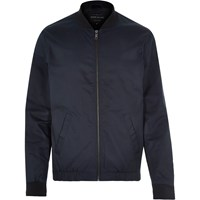 River Island Mens Navy Blue Casual Contrast Neck Bomber Jacket