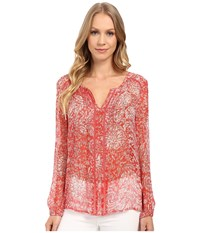 Lucky Brand Red Vines Top Red Multi Women's Long Sleeve Pullover