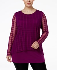 Alfani Plus Size Checked Mesh Cage Overlay Top Only At Macy's Iris Glow