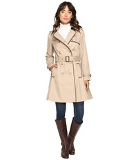 Lauren Ralph Lauren Double Breasted Trench W Faux Leather Trim Sand Women's Coat Beige