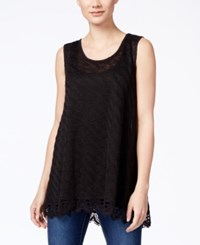 Styleandco. Style And Co. Crochet Hem Tank Top Only At Macy's Deep Black
