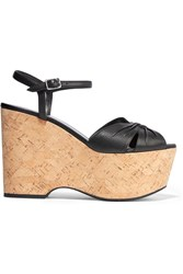 Saint Laurent Candy Textured Leather Cork Wedges Black