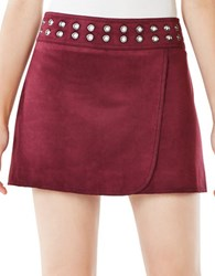 Bcbgmaxazria Dorthy Grommeted Faux Suede Mini Skirt Bordeaux