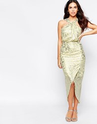 Vlabel London Royal Halter Dress In Foil Yellow