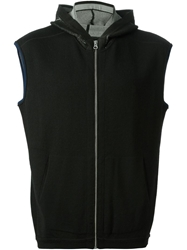 Stone Island Shadow Project Rear Graphic Jacquard Hooded Vest Black