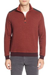 Men's Bugatchi Knit Quarter Zip Mock Neck Pullover Pumpkin