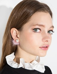 Pixie Market Mauve Pink Fur Double Sided Pearl Stud Earrings