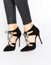 Carvela Kayleigh Ghillie Lace Point Heeled Shoes Black