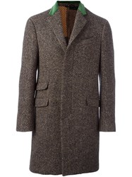 Etro Single Breasted Coat Brown