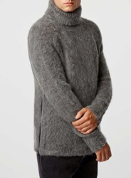 Topman Lux Grey Chunky Roll Neck With Zips