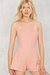 Light Me Up Linen Romper Blush Pink