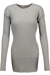 Helmut Lang Ribbed Cotton And Angora Blend Top Gray
