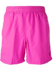 Polo Ralph Lauren Embroidered Logo Swim Shorts Pink And Purple