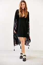 Urban Outfitters Garden Floral Embellished Poncho Black Multi