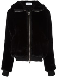 Wanda Nylon Hooded Zip Up Jacket Black