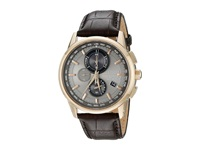 Citizen At8113 04H World Chronograph A T Rose Gold Tone Stainless Steel Watches Khaki