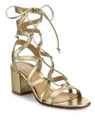 Gianvito Rossi Metallic Leather Lace Up Block Heel Sandals Gold