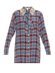 Marc Jacobs Embellished Collar Check Silk Shirtdress Blue
