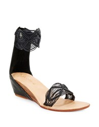 Cocobelle Lilly Embroidered Stacked Wedge Sandals Black