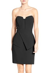 Adelyn Rae Women's Strapless Peplum Sheath Dress Black