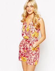 Oasis Floral Printed Playsuit Multiivory