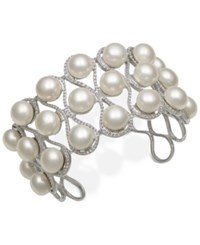 Macy's Cultured Freshwater Button Pearl Cuff Bracelet 9Mm In Sterling Silver