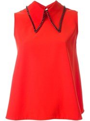 Mcq By Alexander Mcqueen Embellished Collar Top Red