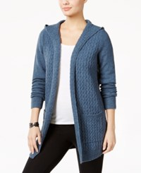 G.H. Bass And Co. Hooded Open Front Cardigan Atlantic Blue