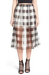 Women's Kendall Kylie Silk Organza Pleat Midi Skirt Gingham
