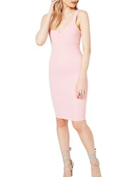 Miss Selfridge Ribbed Wrap Bodycon Dress Pink