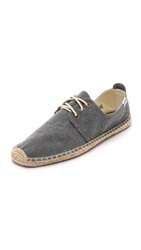 Soludos Washed Canvas Lace Up Espadrilles Dark Grey